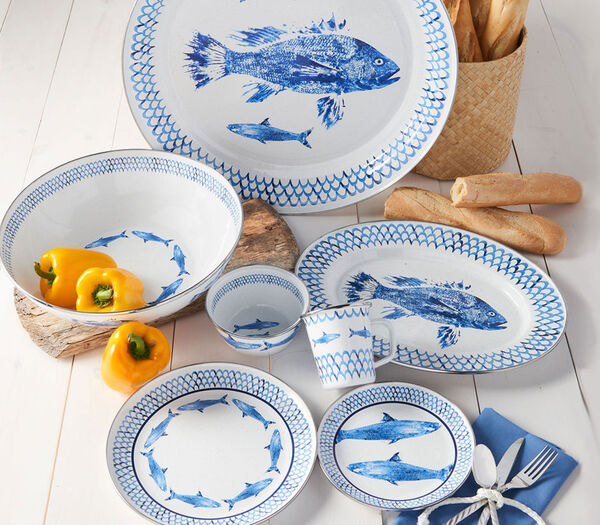 Go Coastal. Update your home with seaside styles. Image of fish dinnerware.