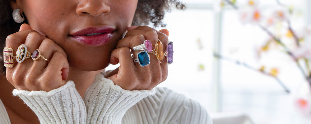 Glamorous Looks. Turn Heads In Bold Jewels. Image Featuring Model Shot Wearing Rings