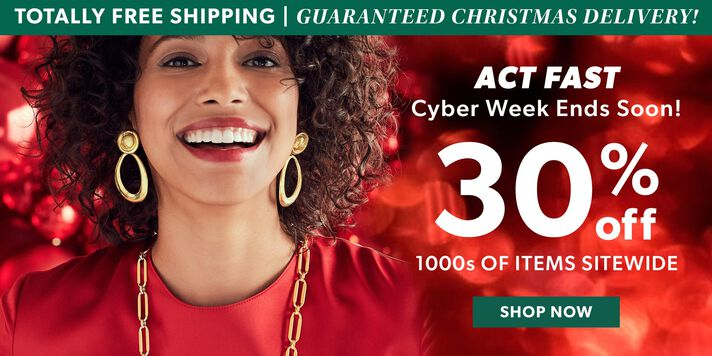Totally Free Shipping | Guaranteed Christmas Delivery! Act Fast Cyber Week Ends Soon! 30% Off 1000s of Items Sitewide. Shop Now. Image Featuring Model Shot Wearing Gold Necklace and Earrings on Red Christmas Lights Background