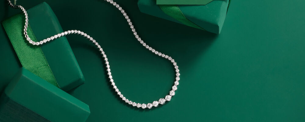necklaces drape yourself in elegance. Image Featuring Diamond Necklace on Green Background
