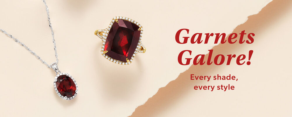 Garnets Galore! Every shade, every style. Image contains garnet pendant and ring.