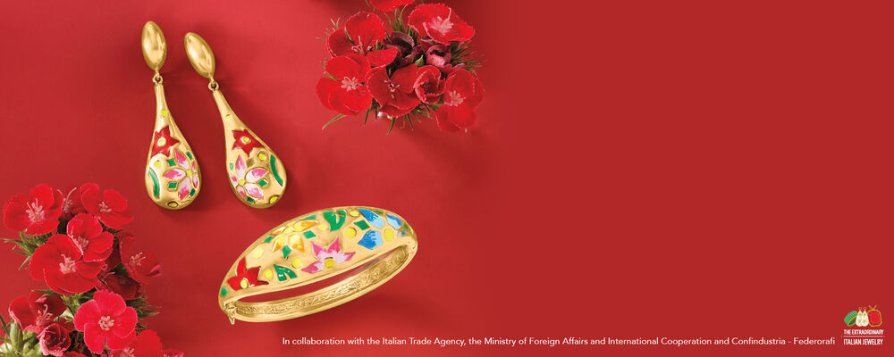 Italian Jewelry. World Class Beauty. Image Featuring Items 939358, 937982 on Red Background