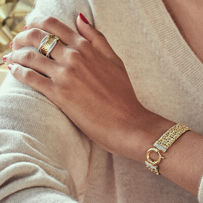 Timeless Gifts. Image Featuring Model Shot of Gold Ring And Bracelet