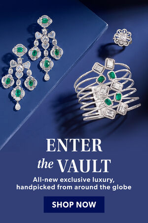 Enter The Vault. All-New Exclusive Luxury, Handpicked From Around The Globe. Shop Now. Image Featuring Diamonds Jewelry on A Blue Background