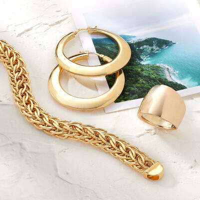 All Italian. Image featuring Italian 18kt Yellow Gold Graduated Cuban-Link Necklace 797365, Italian Andiamo 14kt Yellow Gold Hoop Earrings 846856, Italian 14kt Yellow Gold Wide Polished Ring 869291.