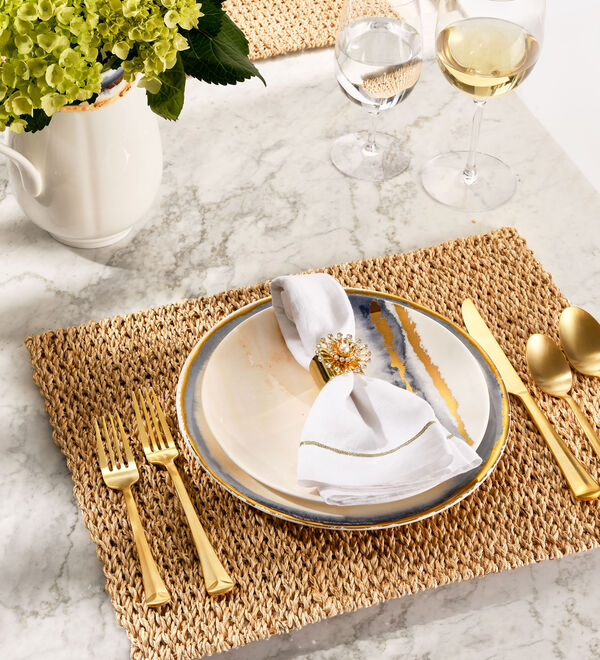 Tabletop & Bar. Stylish dinnerware, stemware, serveware and more. Image of dinnerware and flatware.