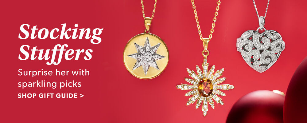 Stocking Stuffers. Surprise Her With Sparkling Picks. Shop Gift Guide. Image Featuring 3 Pendant Necklaces on Red Background