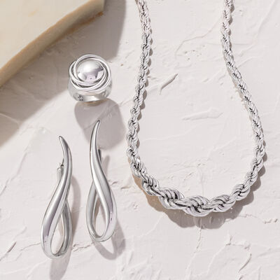 Italian Silver. Image Featuring Italian Sterling Silver U-Hoop Earrings. 874914, Italian Sterling Silver Big Bead Knot Ring 875257, Italian Sterling Silver Graduated Rope Chain Necklace 873338.