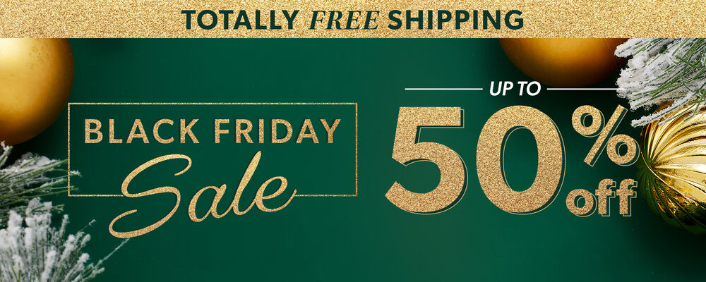Totally Free Shipping. Black Friday Sale. Up To 50% Off. Image Featuring Gold Christmas Ornaments on Green Background