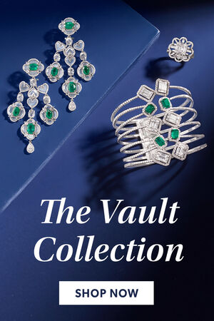 The Vault Collection. Shop Now. Image Featuring Diamonds Jewelry on A Blue Background