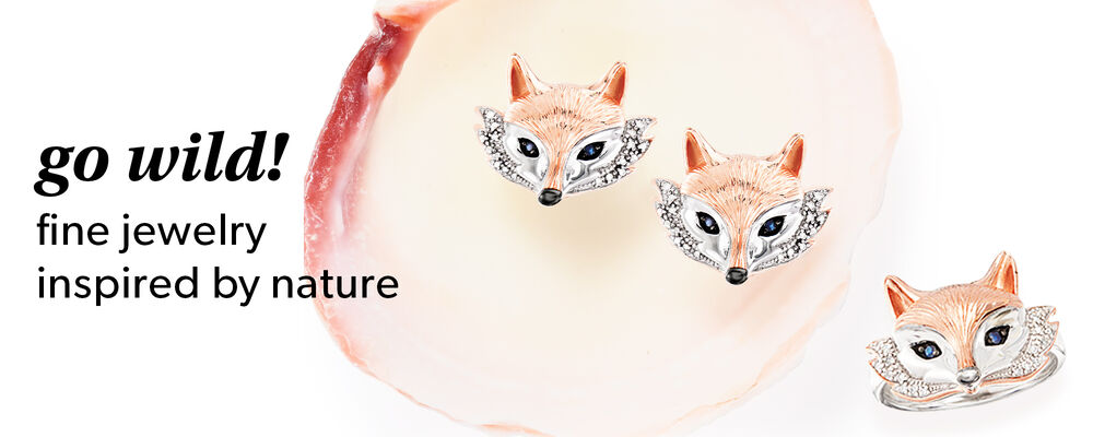 Go wild! Fine jewelry inspired by nature. shop now. image of fox earrings and fox ring