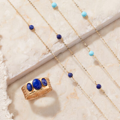 Italian Jewels. Image featuring Italian 4mm Turquoise Station Necklace in 14kt Yellow Gold 871797, Italian Lapis Three-Stone Mesh Ring in 14kt Yellow Gold 900369.