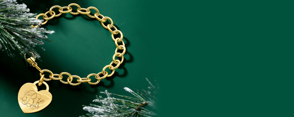 Holiday Gifts Personalized. Image Featuring Italian 14kt Yellow Gold Personalized Heart Charm Bracelet 470840