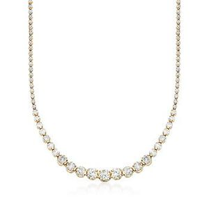 7.00 ct. t.w. Graduated Diamond Tennis Necklace in 14kt Yellow Gold #790337