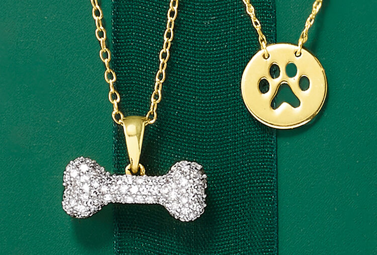 For Pet Lovers. Image Featuring Dog Bone Necklace and Paw Print Pendant Necklace