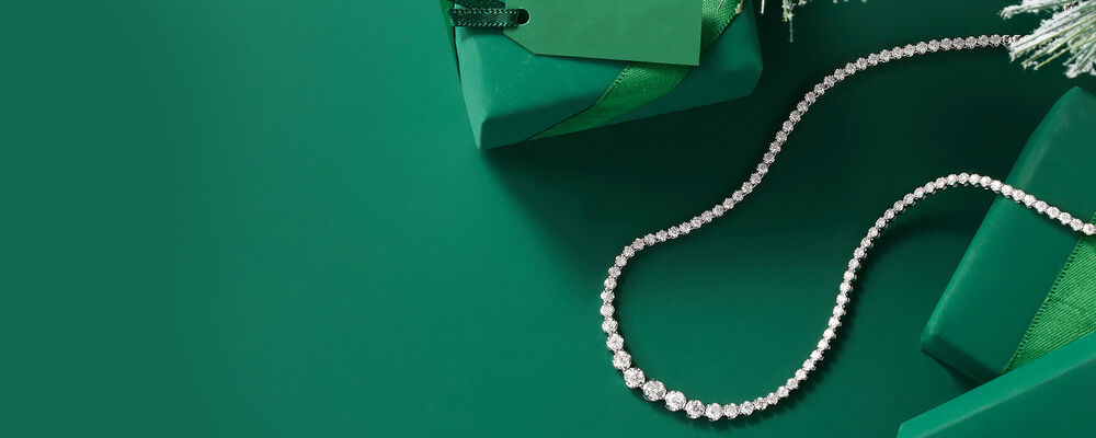 Holiday Gift Guide. Image Featuring Graduated Diamond Tennis Necklace in 14kt White Gold 913632