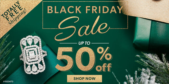 Totally Free Shipping. Black Friday Sale. Up To 50% Off. Shop Now. Image Featuring A Diamond Ring on Green Background