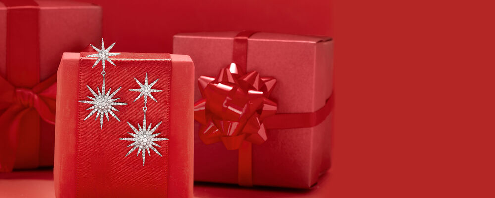 top gifts make spirits bright. image featuring star drop earrings on red presents