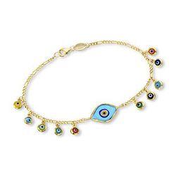 Evil-Eye Glass Charm Bracelet in 24kt Gold Over Sterling Silver #767950