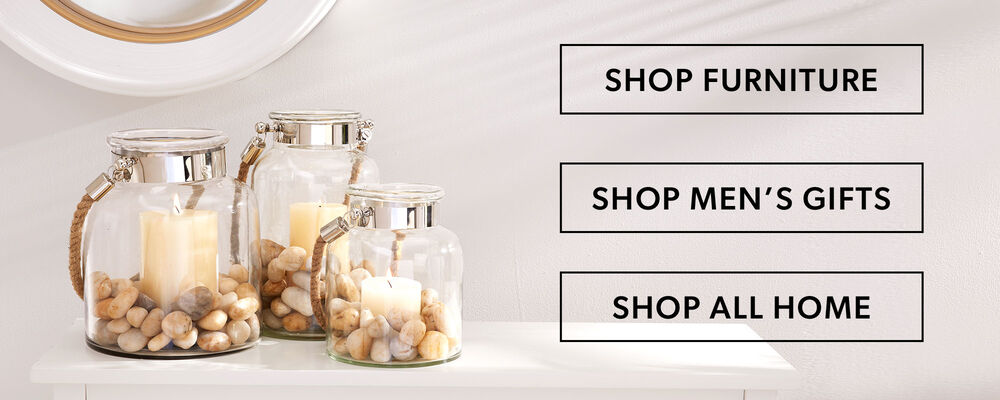 Shop Furniture, Men's Gifts or All Home. Image of three candle jars with stones.
