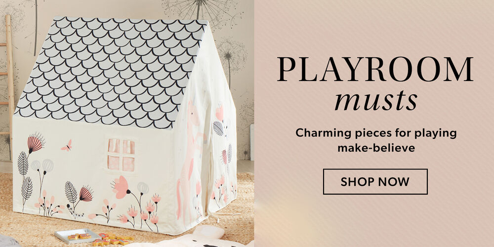 Playroom Musts -- Charming pieces for playing make-believe. Image of play-house
