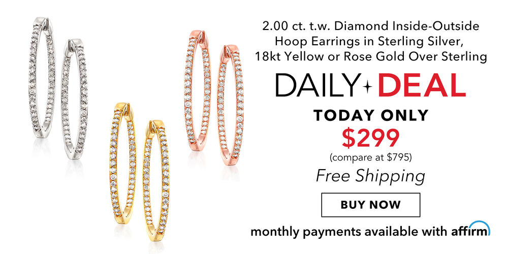 Daily Deal – Only $299! Stylish 2 ct. diamond hoops