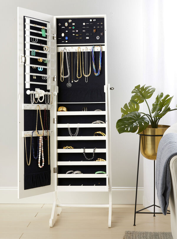 Storage Solutions. Keep your jewels safe, secure and organized. Image of jewelry organizer.