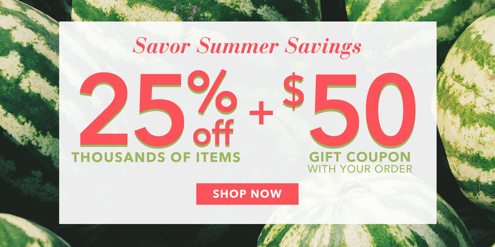 Summer Sale 25% off + $50 gift coupon
