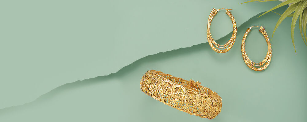 Savings up to 60%. Image featuring Italian 14kt Yellow Gold Triple Hoop Earrings 816754, Italian 14kt Yellow Gold Domed Byzantine-Style Bracelet 770154. Click to shop