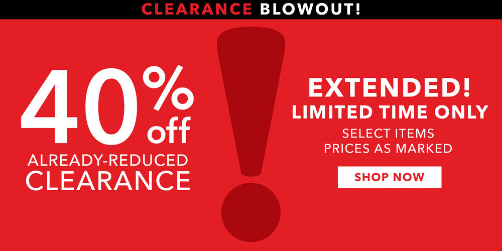 Event Extended! Shop clearance styles now