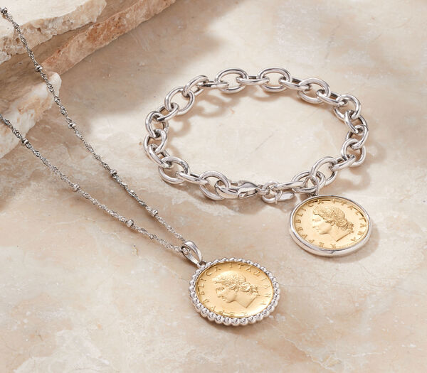 Old-World Charm -- Classic coins with a modern update. Gold coin necklace and bracelet shown.