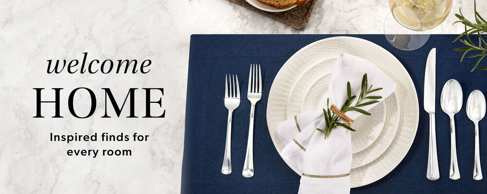 Welcome Home -- Inspired finds for every room. Image of dinnerware and flatware.