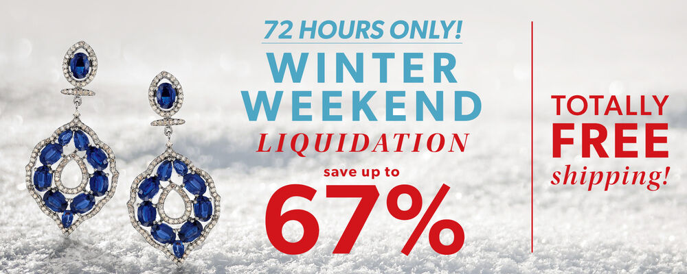 72 Hours Only! Winter Weekend Liquidation. Save Up To 67%. Totally Free Shipping! Image Featuring Blue Gemstone Drop Earrings on Snow Background