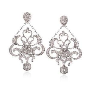 Diamond Chandelier Drop Earrings in Sterling Silver #813237