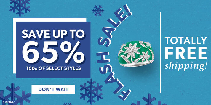 Flash Sale! Save Up To 65% 100s of Select Styles. Totally Free Shipping! Don't Wait. Image Featuring Green Enamel Ring on Blue Background