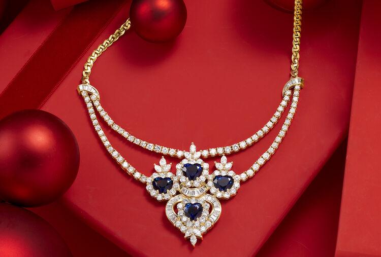 Estate Treasures. Image Featuring Gemstone and Diamond Necklace.