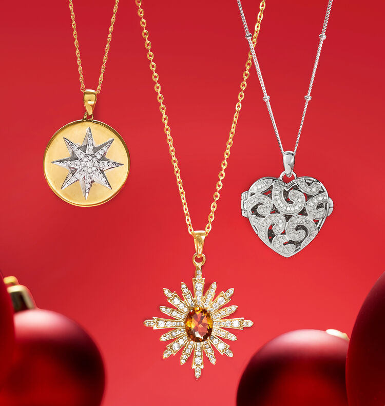 Stocking Stuffers. Image featuring Gold and Silver Pendant Necklace.