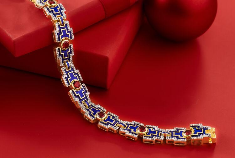 Glamorous Gems. Image Featuring Gemstone Bracelet on Red Background