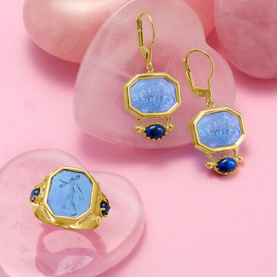 Blue venetian glass tagliamonte cameo-style earrings and ring from Italy