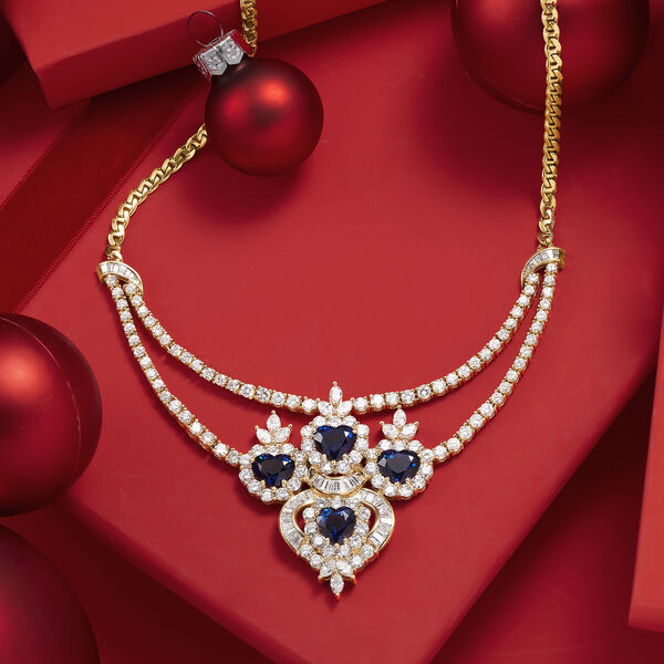 C. 1980 Vintage 11.85 ct. t.w. Diamond and 8.00 ct. t.w. Sapphire Necklace in 18kt Yellow Gold #912522