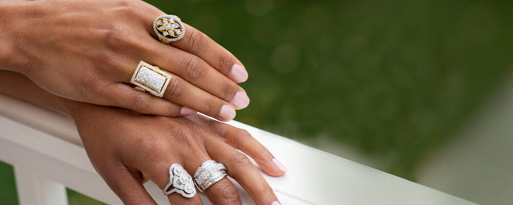 Diamond Jewelry. Dazzling and delightful designs. Image featuring model wearing diamond rings