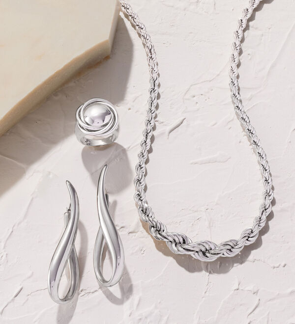Alluring Sterling -- High-shine silver direct from Italy. Silver earrings, ring and necklace shown.