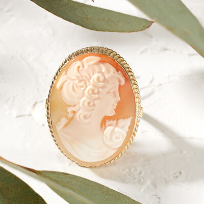 Artisanal. Image featuring Italian Orange Shell Cameo Ring in 18kt Gold Over Sterling 926084.