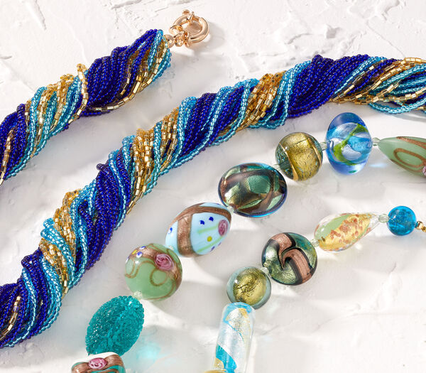 Murano Glass -- Skillfully handmade by Italian artisans. Murano necklaces shown.