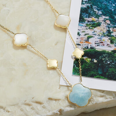 Italian Jewels. Image featuring Italian Mother-Of-Pearl and 6.80 ct. t.w. Aquamarine Clover Station Necklace in 14kt Yellow Gold 915882.