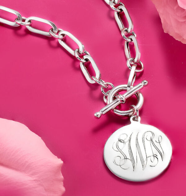 silver link toggle necklace with monogrammed pendant