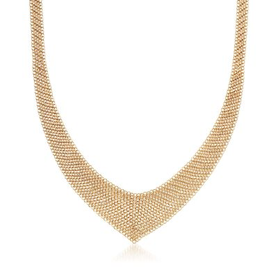 "C. 2000 Vintage 18kt Yellow Gold Tiffany Jewelry ""Elsa Peretti"" Mesh V-Necklace, , default"