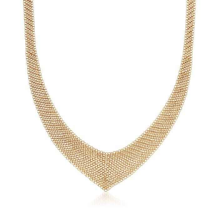 "C. 2000 Vintage 18kt Yellow Gold Tiffany Jewelry ""Elsa Peretti"" Mesh V-Necklace. 26"", , default"