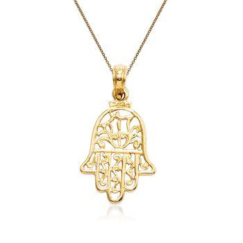 "14kt Yellow Gold Chamseh Pendant Necklace. 18"", , default"
