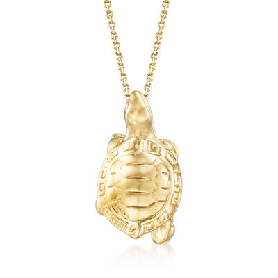 14kt Yellow Gold Turtle Pendant Necklace